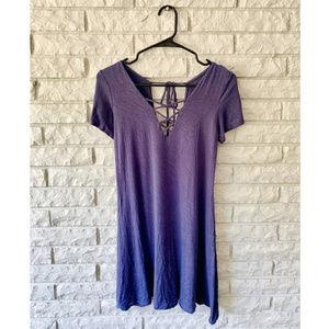 Cute Blue Criss Cross Short Sleeve Dress